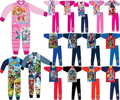 Girls Boys Kids CHARACTER FLEECE All In One NIGHTWEAR PYJAMAS age 18 M-10 yrs