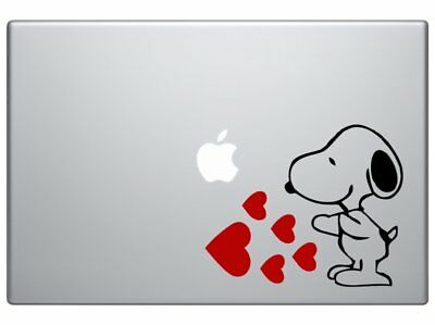 """Snoopy Love Hearts - Cartoon Decal Vinyl Decorative Sticker Black and Red 5.5"""""""