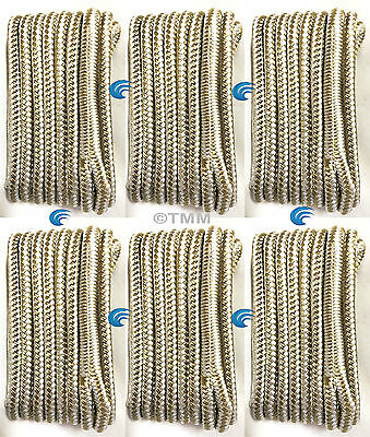 "(6) Gold/White Double Braided 3/8""x15' ft HQ Boat Marine DOCK LINES Mooring Rope"