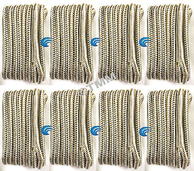 "(8) Gold/White Double Braided 3/8""x15' ft HQ Boat Marine DOCK LINES Mooring Rope"