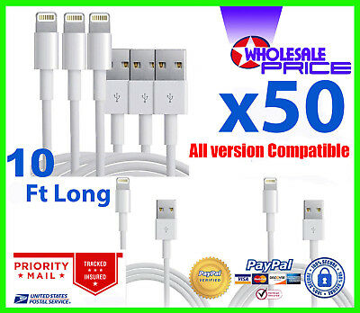 50X Usb Charger Sync Data Cable Compatible With Phone 7 Plus 10Ft Wholesale Lot