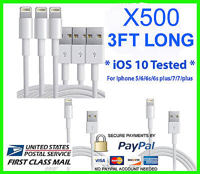 500X USB Charger Cable Cord Compatible to charge iPhone 7p/6/5 3FT Wholesale Lot