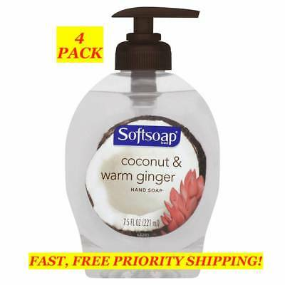 4 PACK SOFTSOAP Coconut & Warm Ginger HAND SOAP 7.5 fl oz Pump NEW FREE SHIPPING