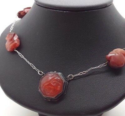 "Antique Art Deco Carved Red Carnelian Sterling Silver 925 Necklace 12g 17"" Y506"