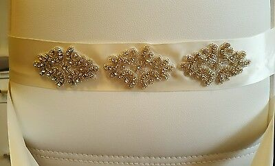 Handmade crystal rhinestone applique wedding bridal sash ivory