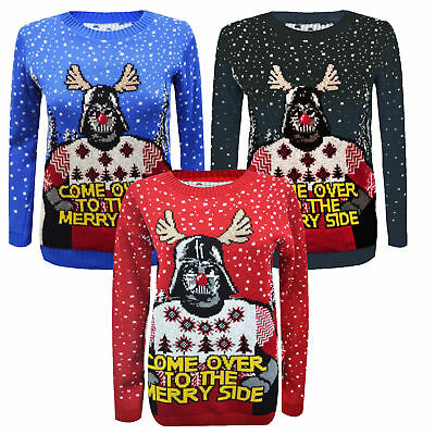 New Unisex Xmas Star Wars ''Come Over To The Merry Side'' Knitted Jumper UK 8-26