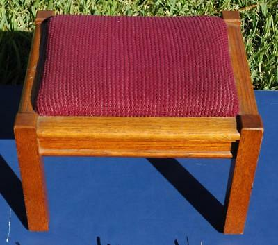 Beautiful Vintage Arts & Crafts Style Foot Stool With Burgundy Upholstery