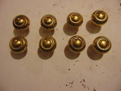 Lot - 8 vintage salvaged gold tone metal Drawer Pull Knob Handle Furniture