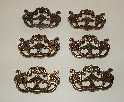 Lot of 6 Vintage Antiqued Brass Ornate Colonial Dresser Drawer Pulls Handle