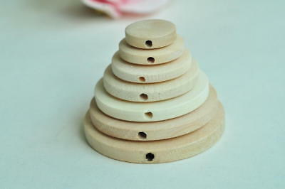 Round Wood Bead Unfinished Flat Round Natural Wooden Bead Raw Wood Bead Cylinder