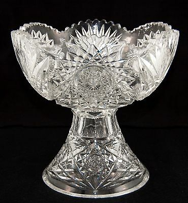 AMERICAN BRILLIANT Deep Cut Crystal Glass Punch Bowl & Pedestal Antique