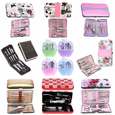 12pcs Pedicure/Manicure Set Nail Clippers Cleaner Cuticle Grooming Kit Case Lot