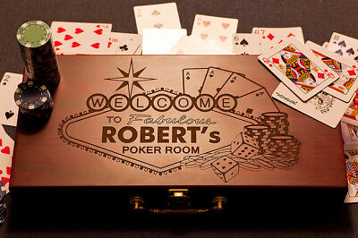 Personalized Poker Gift Set, Custom Engraved Game Box, w/Poker Chips /w Cards