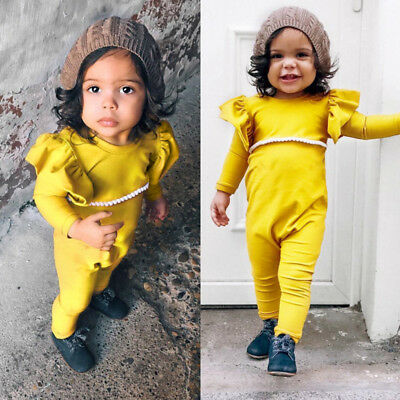 303b87a96f1 Newborn Kid Baby Girl Long Sleeve Ruffle Romper Jumpsuit Bodysuit Clothes  Outfit