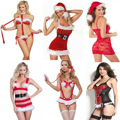 Sexy Ladies Christmas Lingerie Mrs Santa Xmas Cosplay Fancy Dress Costume Gift
