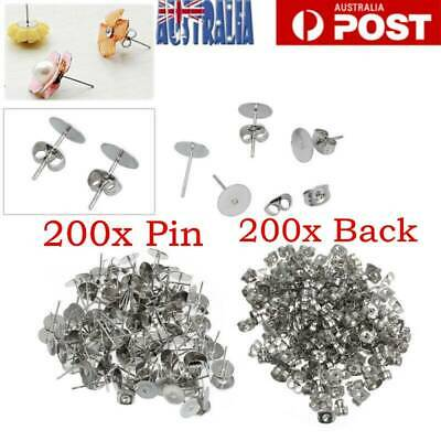 200X Flat Stud Earring Post 4mm Pads and backs Hypoallergenic Surgical Steel AU