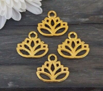 Lotus Flower Charms 10/20/50pcs - Gold Plated - Spiritual Jewelry Supply CH389