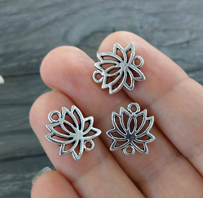 Lotus Flower Connector Charms 10/20/50pc - Spiritual Jewelry Supply CH113