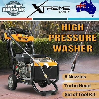 3 Lances 8HP 4800PSI High Pressure Washer Cleaner Petrol Water Gurney 15m Hose
