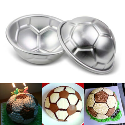 2pcs Aluminum Soccer Ball Cake Pan Tin 3D Football Pastry Baking Mould Tools NEW