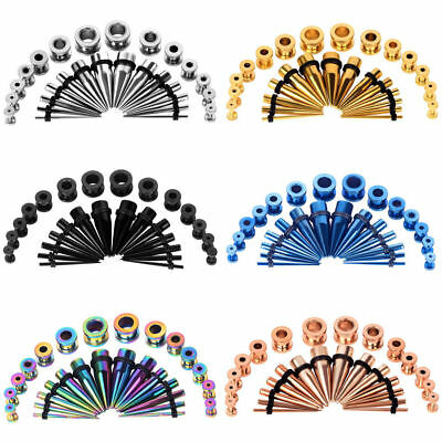 28pcs Stainless Steel Ear Tapers Plug Stretching Kit Ear Stretcher Gauge 12g-00g