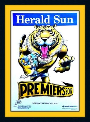 2017 Richmond Tigers Premiers Official Mark Knight Poster Yellow&Black Framed.
