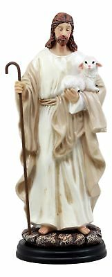 Jesus Christ The Good Shepherd With Staff Holding A Lamb 10.25 Inches Height