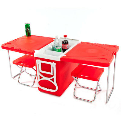 Multi Function Rolling Cooler Picnic Camping Outdoor w/ Table & 2 Chairs Red