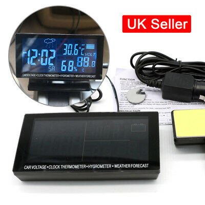 Car Digital Thermometer Clock Time & Date Temperature Meter LCD Blue Display