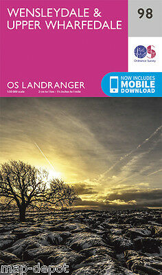 WENSLEYDALE & UPPER WHARFEDALE LANDRANGER MAP 98 - Ordnance Survey - OS NEW 2016
