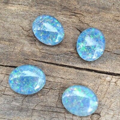 OVAL SHAPE CABOCHON NATURAL AUSTRALIAN TRIPLET OPAL 10x8MM 4 PC LOOSE GEMSTONES