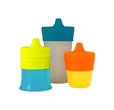 Silicone Sippy Cup Lids 3 Pack Spill Proof Elegant Design (Pink/ Purple/ Blue)