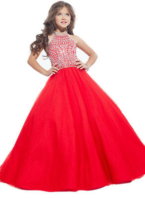 Fashion Flower Girl Dress Red Princess Gold Crystal Gowns Stock Size 6/8/10/12