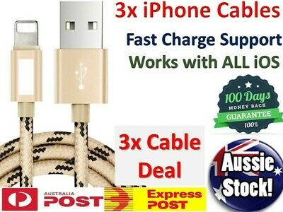 3 x Lightning USB Cable Charger Apple iPhone 8 Plus 7 XS Nylon Cord FAST Charge