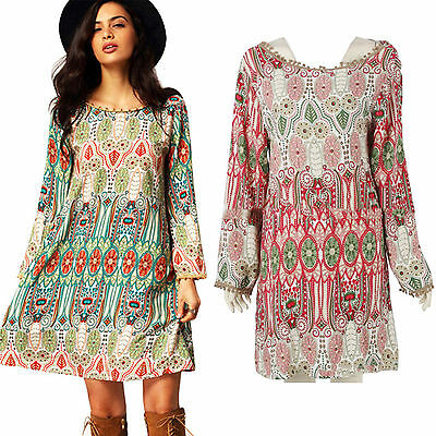 Womens Hippie Boho Gypsy Short Dress Summer Printed Vintage Loose Beach Sundress