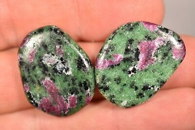 2 RUBY ZOISITE PALM STONES 13g Flat Worry Thumb Tumbled Healing Crystals