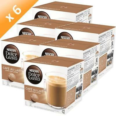 NESCAFE Dolce Gusto Cafe Au Lait 96 Coffee Pods Capsules (6 Boxes)