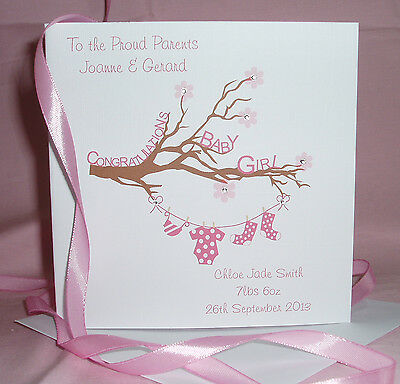 handmade personalised congratulations baby boygirl card namesdate of birth etc