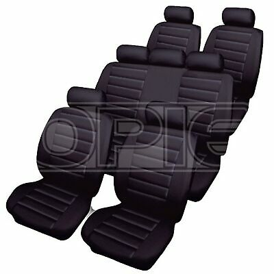 Cosmos Car Seat Covers - Leatherlook - 7 Seater Set with Bench - Black (66533)