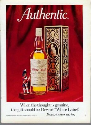 1973 Dewar's White Label Scotch Whisky Christmas Gift Holiday Vintage Print Ad
