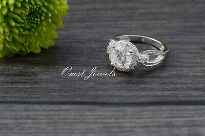 2.20CT Engagement Ring Brilliant Halo Gorgeous Round Cut 14K White Gold Over