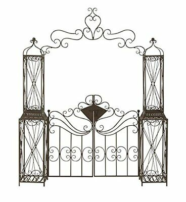 Wrought Iron Garden Gate Door Classic Vintage Swinging Black Guard Decorative NE