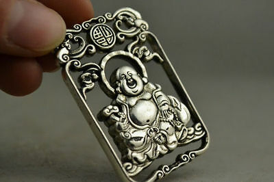 China Collectible Handwork Old miao silver carving Maitreya Buddha pendant