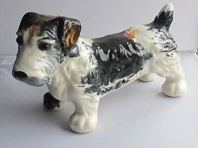 Rare Antique Vintage Crown Devon Large Glass Eyes Terrier Dog Doorstop c1930's