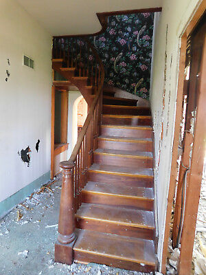 Antique Victorian Style Curved Staircase -1880 Oak/Walnut Architectural Salvage