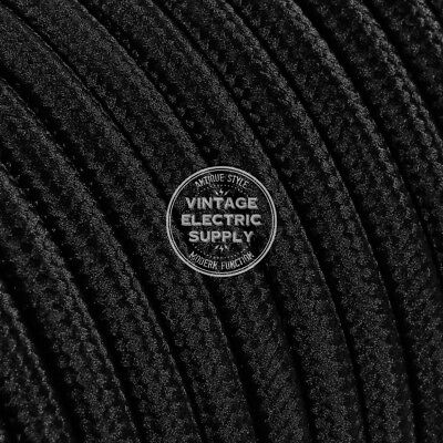 Black Round Cloth Covered Electrical Wire 18/2 - Braided Rayon Fabric Wire
