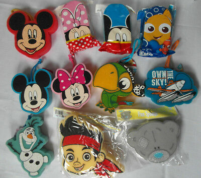 Character BATH SPONGE, BODY PUFF, Minnie Mickey Nemo Me to You Jake Olaf Planes
