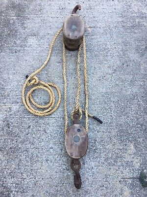 Antique Block & Tackle Wooden Double & Single Pulley w/ 17' foot rope VGC