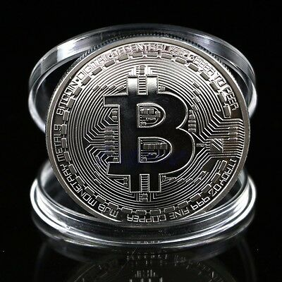 Silver Plated Bitcoin Coin Collectible BTC Coin Art Collection Physical Gift