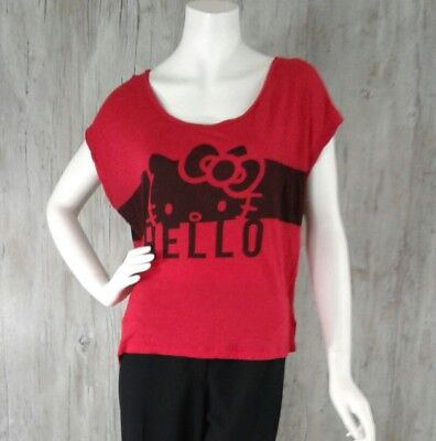 Hello Kitty Womens Top XL Hello Bye Red Black Soft Short Sleeve Scoop Neck